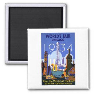 Vintage Worlds Fair Chicago 1934 2 Inch Square Magnet