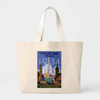 Vintage Worlds Fair Chicago 1934 Large Tote Bag