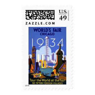 Vintage Worlds Fair Chicago 1934 Stamps