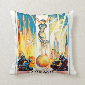 Vintage Worlds Fair Chicago Poster 1933 Throw Pillow
