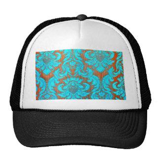 Vintage worn chic hipster damask gold light blue hat
