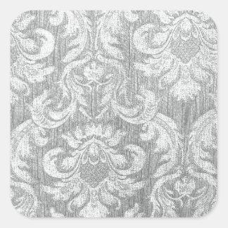 Vintage worn chic hipster damask silver grey white square sticker