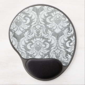Vintage worn damask grey silver white textile chic gel mouse pads