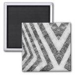 Vintage Worn Hazard Stripes Textured 2 Inch Square Magnet