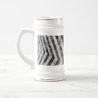 Vintage Worn Hazard Stripes Textured Beer Stein