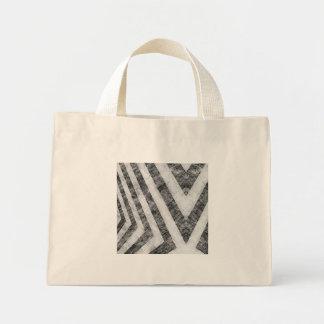 Vintage Worn Hazard Stripes Textured Mini Tote Bag