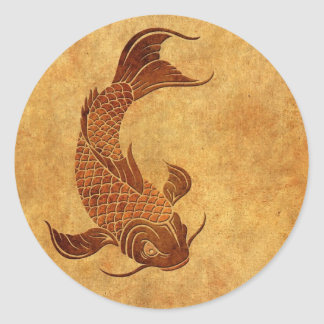 Vintage Worn Koi Fish Design Classic Round Sticker