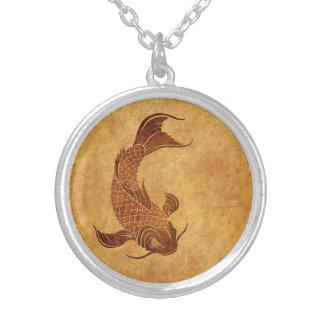 Vintage Worn Koi Fish Design Round Pendant Necklace
