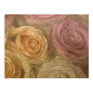Vintage worn out yellow pink roses pattern chic postcard