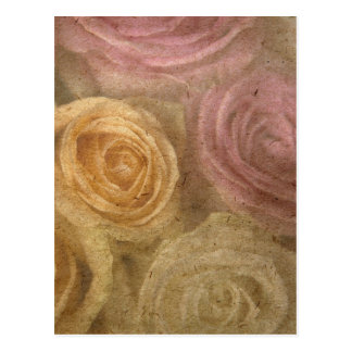 Vintage worn out yellow pink roses pattern chic post cards
