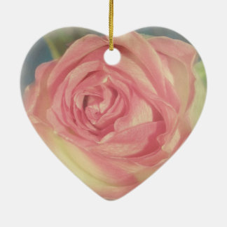 Vintage Worn Pink Rosebud Heart Ornament