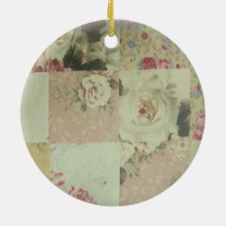 Vintage Worn Quilt Squares Ceramic Ornament