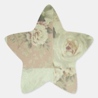Vintage Worn Quilt Squares Star Sticker