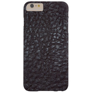 Vintage Worn Textured Black Leather Barely There iPhone 6 Plus Case