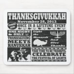 Vintage Worn Thanksgivukkah Poster Mouse Pad