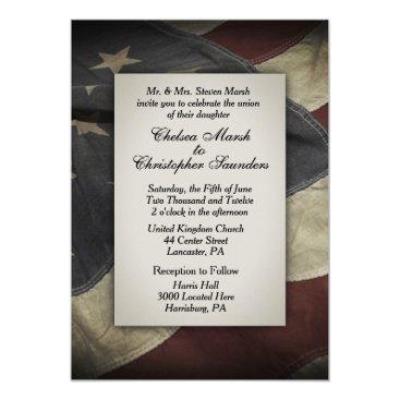 Vintage  Worn USA Flag Wedding Invitation