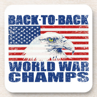 Vintage Worn World War Champs Eagle & US Flag Beverage Coaster