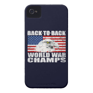 Vintage Worn World War Champs Eagle & US Flag iPhone 4 Case-Mate Cases