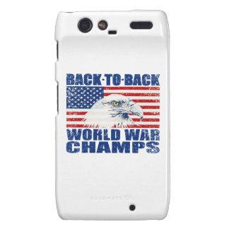 Vintage Worn World War Champs Eagle & US Flag Droid RAZR Cover