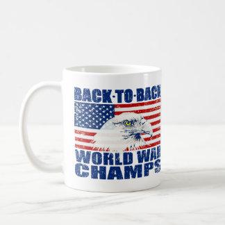 Vintage Worn World War Champs Eagle & US Flag Classic White Coffee Mug