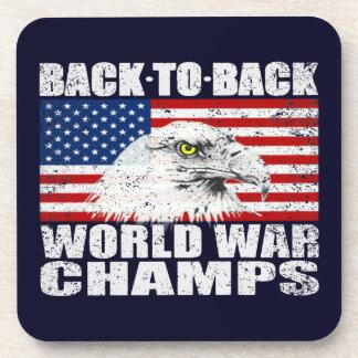 Vintage Worn World War Champs Eagle & US Flag Coasters