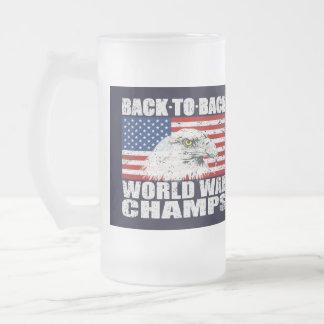 Vintage Worn World War Champs Eagle & US Flag Glass Beer Mugs