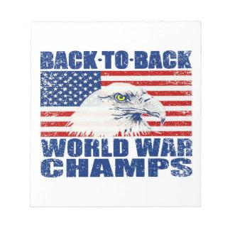 Vintage Worn World War Champs Eagle & US Flag Memo Pads