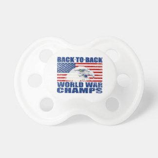 Vintage Worn World War Champs Eagle & US Flag BooginHead Pacifier