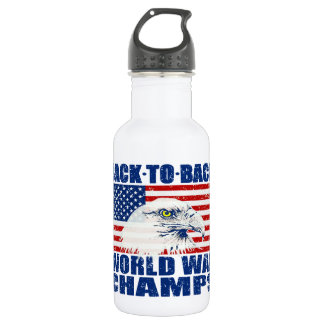 Vintage Worn World War Champs Eagle & US Flag 18oz Water Bottle