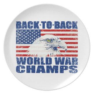 Vintage Worn World War Champs Eagle & US Flag Plate