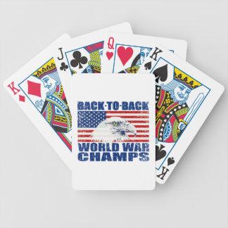 Vintage Worn World War Champs Eagle & US Flag Poker Cards