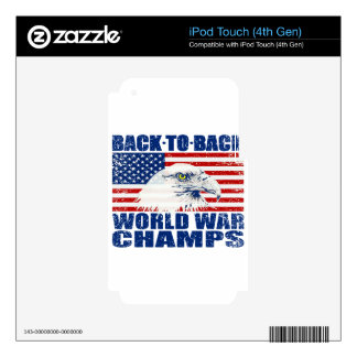 Vintage Worn World War Champs Eagle & US Flag iPod Touch 4G Decal
