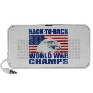 Vintage Worn World War Champs Eagle & US Flag Mini Speaker