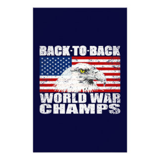 Vintage Worn World War Champs Eagle & US Flag Stationery