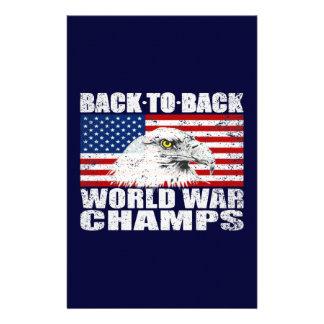 Vintage Worn World War Champs Eagle & US Flag Stationery