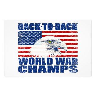 Vintage Worn World War Champs Eagle & US Flag Stationery Design