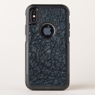 Vintage Worn Wrinkled Textured Black Leather OtterBox Commuter iPhone X Case
