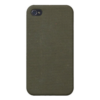 Vintage Woven Dark Olive Book Cover iPhone 4 Case