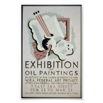 Vintage WPA Art Exhibition c. 1930-1950