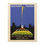 Vintage WPA de Chicago de la fuente de Buckingham Impresiones En Madera