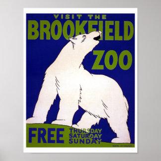 Vintage WPA del parque zoológico de Brookfield de Póster