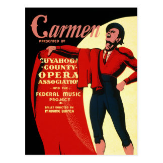 Vintage WPA Federal Music Project Opera Carmen Postcard