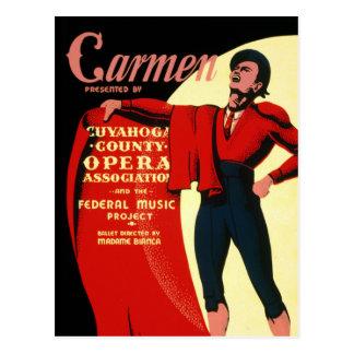 Vintage WPA Federal Music Project Opera Carmen Postcard