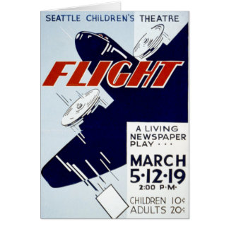 Vintage WPA Federal Theatre Project Flight Card