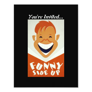 Vintage WPA Funny Side Up Poster 4.25x5.5 Paper Invitation Card