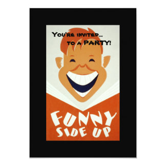 Vintage WPA Funny Side Up Poster 5x7 Paper Invitation Card