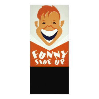 Vintage WPA Funny Side Up Poster 4x9.25 Paper Invitation Card
