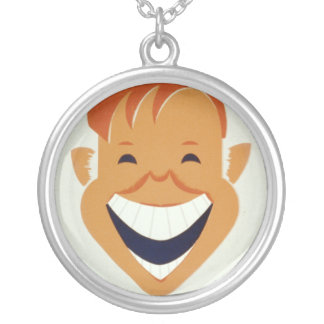 Vintage WPA Funny Side Up Poster Round Pendant Necklace