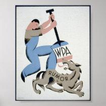 Vintage WPA Man & Wolf Rumor