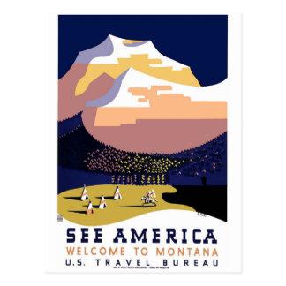 """""""Vintage WPA Montana Poster 3"""" Postcard"""